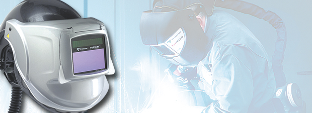 Welding respiratory protection: welding helmet and mask with respirator against fumes