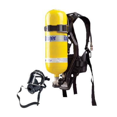 complete SCBA set R-pas kit by Dräger: a full self-contained breathing apparatus in its carrying case