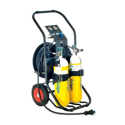 Breathing air cart for supplied air respirator system: Pas Airpack1 mobile air cart by Dräger